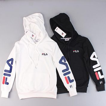 FILA 2018 autumn trend men and women fashion long-sleeved hooded sweater
