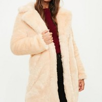 Missguided - Cream Faux Fur Slim Coat