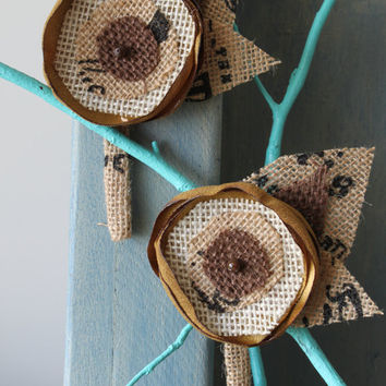 Men's Boutonniere for Wedding - Burlap Boutonniere - Corsage - Rustic Wedding - Country Wedding