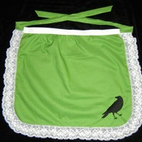 'The Birds' Inspired Retro Green Half Apron with Embroidery