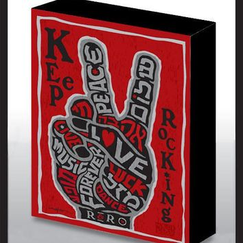 Keep Rocking V-Sign Art Wood Panel