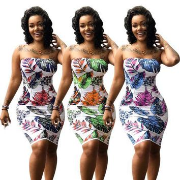 Sexy Women Floral Print Off The Shoulder Bodycon Dress Casual Beach Dress