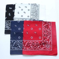 Cotton Paisley Bandanas Men Pocket Square Black Red White Ladies Headband Women Headscarf Handkerchief SUJASANMY TJ9047