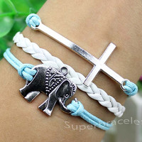 Light blue leather cord bracelet, Cross bracelet, elephant bracelet and charm bracelet, god 's blessing and present for girlfriend and BFF