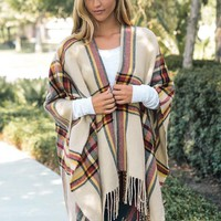 Beige Plaid Poncho with Fringe Hem