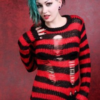 Tripp Rag Stripe Sweater - Red