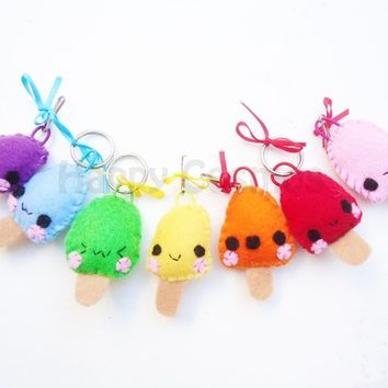 Popsicle Keychain or Phone Charm - Ice Cream Felt Keychain , Dust Plug,  Kawaii Plush Food Stocking Stuffer