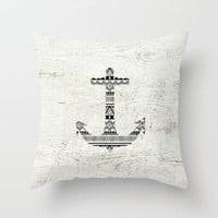 Aztec Nautical Anchor Black White Vintage Wood Throw Pillow by Girly Trend
