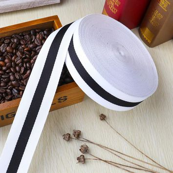 10Yards White/Black Width 10 15 20 25mm Printing Stripe Ribbons for DIY Decorative Arts and Crafts Hair Bow Sewing Accessories