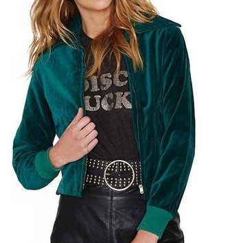Autumn Fashion Women Solid Green Velvet Lapel Neck Bomber Jacket Long Sleeve Basic Zipper Slim Short Coat