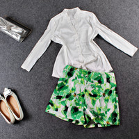 Casual Long Sleeve Button Down Doll Collar Blouse And Floral Shorts