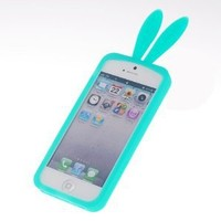 Light Green Bunny Rabito TPU Skin Case Cover for Iphone 5 5g Rabbit with Furry Tail