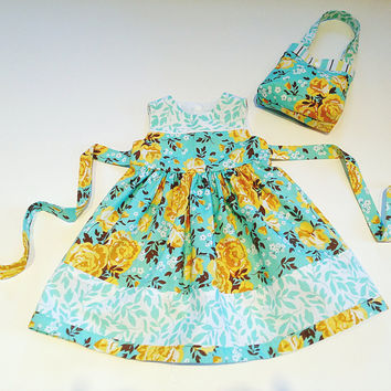 18 month dress blue & yellow floral dress and tote baby dress special occasion dress baby outfit sunday best boutique baby little girl purse