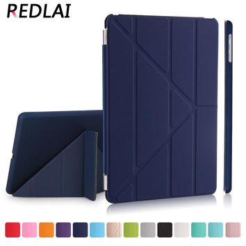 Redlai Ultra thin Magnetic Smart cover Front PU Leather with PC Matte Hard Back skin case for iPad 9.7 2017 14 Colors