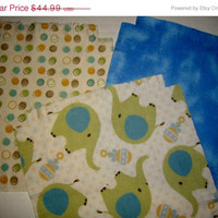 "Baby Flannel rag quilt kit Elephant and dot kids nursery fringed die cut fabric squares and batting  ready to sew 39""x39"" quilting"