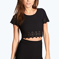 Evie Laser Cut Detail Crop Top