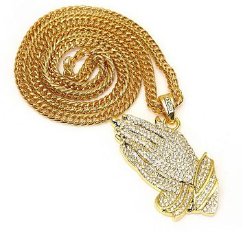 18K Gold Filled Iced Out Praying Hands Pendant Necklace