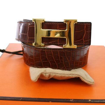 Authentic HERMES Vintage H Buckle Constance Reversible Belt Alligator N00012