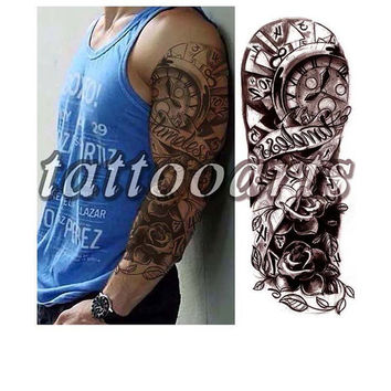 Large full arm whole hand timeless clock rose totem temporary tattoo sleeve waterproof man woman body art sticker #10238