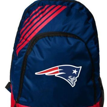 New England Patriots BackPack Back Pack Book Sports Gym School Bag Border Stripe