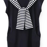 Navy Blue Contrast Striped Neck Tie With Pockets Shift Dress