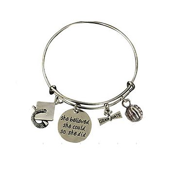 Volleyball Graduation She Believed She Could So She Did Bangle Bracelet