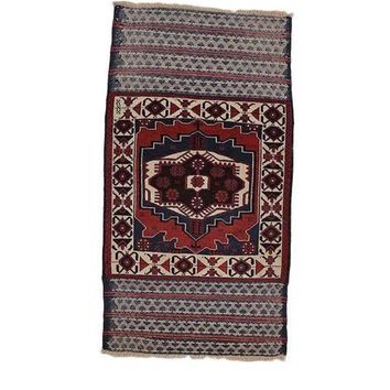 """Vintage Tribal Afghan Area Rug Wool Hand Knotted 2' 6"""" X 4' 8"""""""