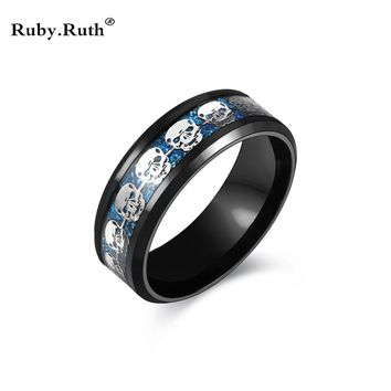 Mens Stainless Steel Skull Ring Black Women's Wedding Ring Punk Jewelry