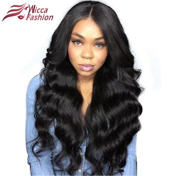 dream beauty Brazilian Body Wave Non-remy 150% Density Lace Front Human Hair Wig Natural Black Color