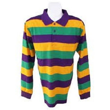 Mardi Gras Long Sleeve Polo Shirt