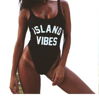 ISLAND VIBES Letter Print Women Swim suit Sexy Low Back High Cut Swimwear Bathing Beachwear Swimsuits One Piece Bodysuit