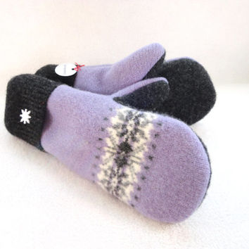Wool Mittens PURPLE & GREY Fair Isle Felted Sweater Wool Mitts with Snowflake Buttons Fleece Lined by WormeWoole