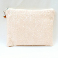 Ivory Sequin BridalClutch/Makeup/Toiletries Bag Glittery Sparkly Off White Cream Sequins With Cream Zipper & Optional Color Bead Zipper Pull