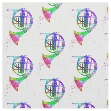 French Horn Rainbow Psychedelic Fabric