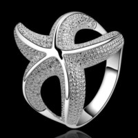 Women Luxury Starfish Beautiful Ring Fashion Silver Alloy Women Jewely