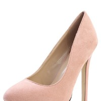 Breckelle's Chloe-01 Blush Suede Platform Pumps and Shop Shoes at MakeMeChic.com