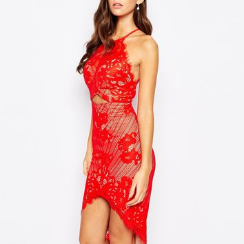 Love Triangle Cut Out Front Midi Dress In Eyelash Lace
