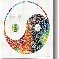 Yin And Yang - Colorful Peace - By Sharon Cummings Acrylic Print