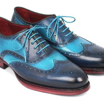 Paul Parkman Men's Two Tone Wingtip Oxfords Blue & Turquoise Shoes (ID#27TQ88)