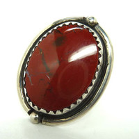 Sterling Carnelian Oval Ring - Southwester Silver Jewelry with Red GemStone