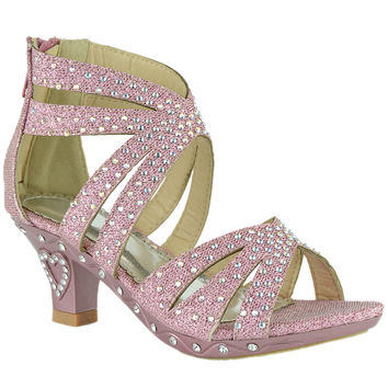 Kids Dress Sandals Rhinestone Glitter Cutout High Heel Pageant Shoes Pink