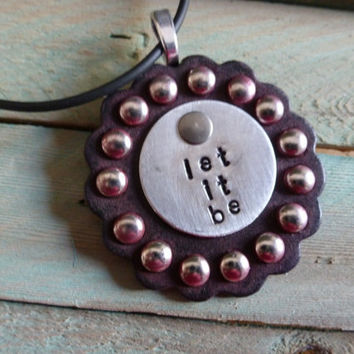 "NEW Hand Stamped  Beatles ""Let It Be""  On Painted Scalloped Leather Concho Necklace"