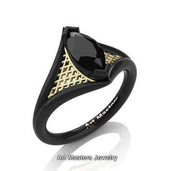 French 14K Black Yellow Gold 1.0 Carat Marquise Black Diamond Lace Solitaire Engagement Ring R428-14KBYGBD