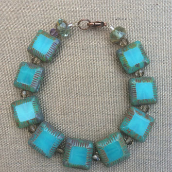 Picasso Czech glass and crystal bracelet