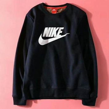 Gotopfashion Nike: Autumn Winter Fashion Women Casual Round Collar Thick Sports Sweater Sweatshirt Navy Blue I-ZDL-STPFYF