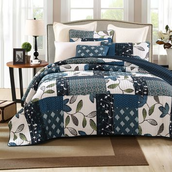 Tache 2-3 Piece Cotton Blue Nightfall Gardenia Patchwork Floral Quilt Set, Cal King, King, Queen, Twin