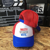 Nasty Women Vote Hats, President Election 2016 USA America, Trucker Hat, Trucker Cap Unisex snapback, Baseball hat caps,