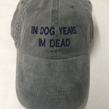 in dog years im dead washed out grey cap with navy blue embroidery 100% cotton tumblr instagram pinterest