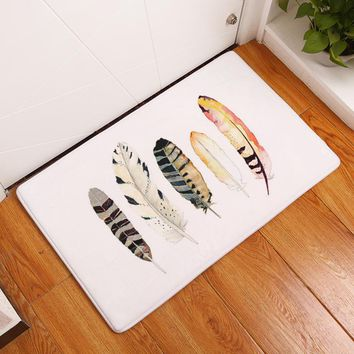 2017 New Welcome Floor Mats Feather Printed Bathroom Kitchen Carpets Doormats Cat Floor Mat for Living Room Anti-Slip Tapete