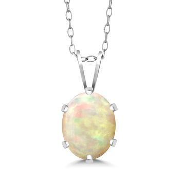 925 Silver White Ethiopian Opal Necklace